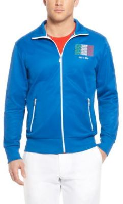 HUGO BOSS 'Skaz Flag' - Country Cotton-Blend Zip Up Sweatshirt