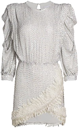 Raisa Vanessa Long-Sleeve Sequin Mini Dress