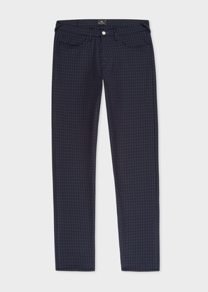 Paul Smith Men's Tapered-Fit Navy Mini-Check Five-Pocket Trousers