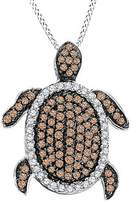 Jewel Zone US Champagne and Natural Diamond Turtle Pendant 10k Solid Gold