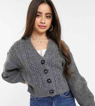 ASOS DESIGN Petite cable crop cardigan with volume sleeve
