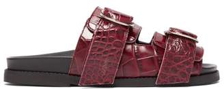 Ganni Double-strap Leather Slides - Womens - Burgundy