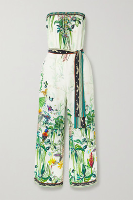 Camilla Belted Crystal-embellished Printed Silk Crepe De Chine Jumpsuit - White