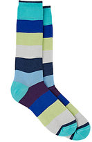 Barneys New York MEN'S WIDE-STRIPED MID-CALF SOCKS
