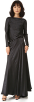 Edun Charmeuse Long Sleeve Draped Back Dress