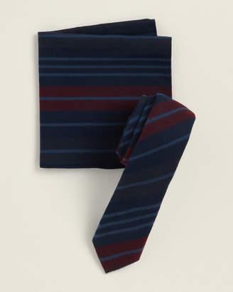 Original Penguin Two-Piece Emerald Stripe Navy Pattern Tie & Pocket Square Set
