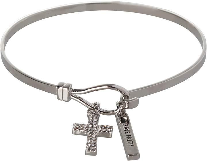 BCBGeneration BCBG Generation Silver Crystal Cross Charm Bracelet