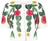 Oscar de la Renta floral embellished half sleeve jacket