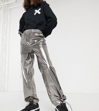 Collusion metallic straight leg pant with diamante chain