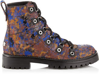 Jimmy Choo HILLARY FLAT Pop Blue Mix Painterly Brocade Ankle Booties