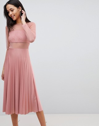 ASOS DESIGN pleated dobby and lace top long sleeve midi dress in mink