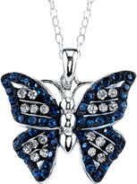 JCPenney CRYSTAL SOPHISTICATION Crystal Sophistication Pure Silver-Plated Blue & Clear Crystal Butterfly Pendant Necklace