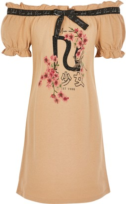 River Island Girls Brown printed bardot T-shirt dress