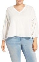 Melissa McCarthy Embroidered Inset Crop Blouse (Plus Size)