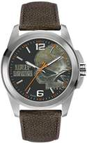 Harley-Davidson Men's Quartz Watch with Grey Dial Analogue Display and Black Leather Strap 76A146