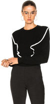 Chloé Cashmere Cotton Ruffle Front Sweater in Black.