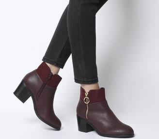 Office Amara Zip Detail Ankle Boots Burgundy Mix