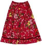 Kenzo Red Floral Full Maxi Skirt