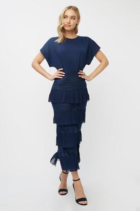 Little Mistress Aliza Navy Tiered Lace Midaxi Dress