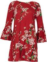Izabel London Floral Bell Sleeve Tunic Top