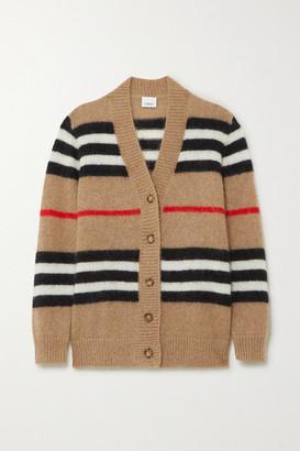 Burberry Striped Mohair-blend Cardigan - Beige