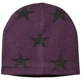 Molo Star Print Colder Hat In Plum Perfect