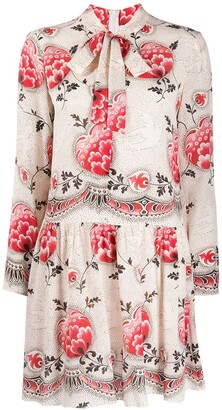 RED Valentino Dotted Flowers Print Pussy-Bow Dress