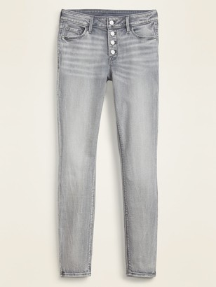 Old Navy Mid-Rise Button-Fly Rockstar Super Skinny Gray Jeans for Women