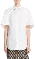 Lela Rose Women's Stretch Cotton Capelet Shirt