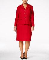 Le Suit Plus Size Tweed Three-Button Skirt Suit