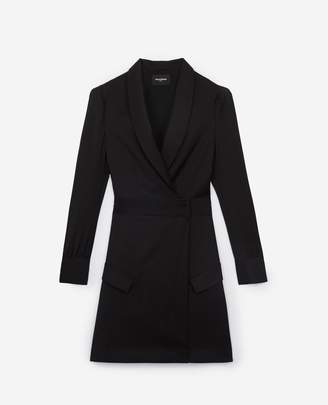 The Kooples Short black mesh wrap dress