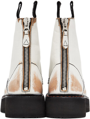 R 13 White & Tan Stacked Platform Boots