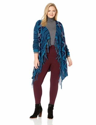 One World ONEWORLD Women's Plus Size Aztec Print Fringe Cardigan Sweater