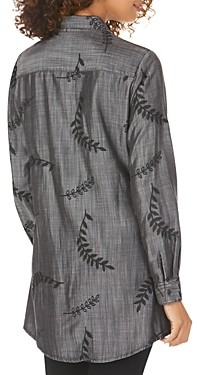 Foxcroft Cici Embroidered Button-Front Tunic