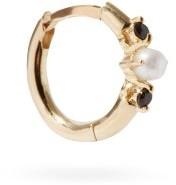 Otiumberg Onyx, Pearl & 9kt Gold Single Hoop Earring - Pearl