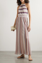 Thumbnail for your product : Missoni Metallic Striped Crochet-knit Halterneck Maxi Dress - Pink