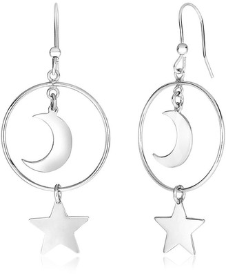 Mayamila Sterling Silver Earrings with Polished Sun and Moon