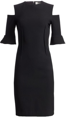 Teri Jon By Rickie Freeman Cold-Shoulder Bell-Sleeve Dress