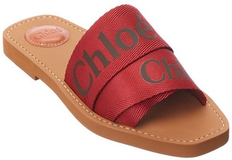 Chloé Woody Logo Ribbon Canvas Slide