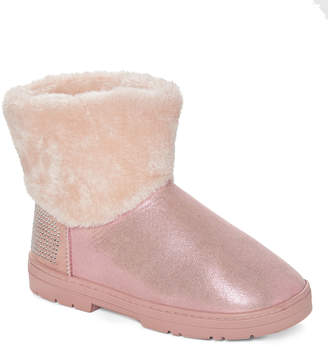 Blush B-Lush Via Rosa VIA ROSA Women's Cold Weather Boots Blush - Blush Rhinestone Shimmer Faux Fur Ankle Boot - Women