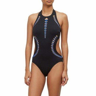 Kenneth Cole New York Women's High Neck One Piece Swimsuit