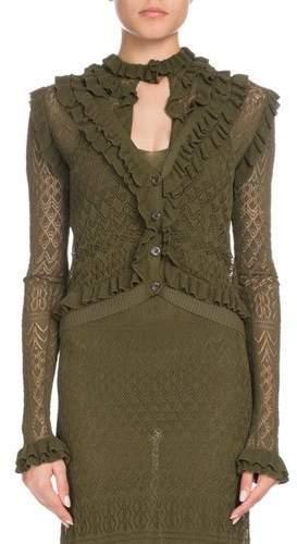 Altuzarra Kozmic Button-Front Long-Sleeve Ruffled Pointelle Lace Knit Cardigan