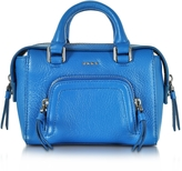 DKNY Chelsea Vintage Style Cerulean Leather Mini Satchel Bag
