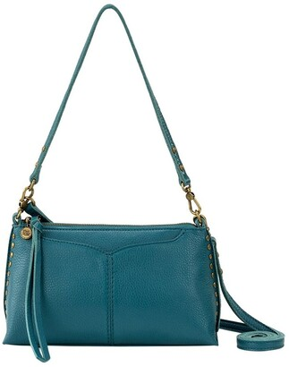 The Sak 109005 Teal Silverlake Leather Zip Top Crossbody Bag