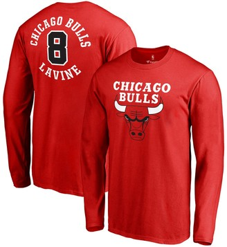 Men's Fanatics Branded Zach Lavine Red Chicago Bulls Round About Name & Number Long Sleeve T-Shirt