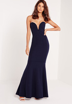 Missguided Scuba Bandeau Fishtail Maxi Dress Navy