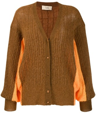 Maison Flaneur Oversized Two-Tone Cardigan