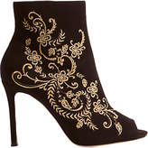 Karen Millen Embroidered Shoe Boots, Black Suede