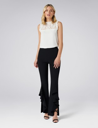 Forever New Dominique Ruffle Front Flare Pants - Black - 4