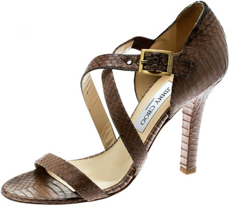 Jimmy Choo Brown Python Leather Cross Strap Block Heel Sandals Size 39